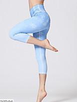 cheap -Women's Basic Legging - Floral, Print Mid Waist Purple Blue S M L