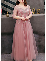 cheap -A-Line Cut Out Plus Size Prom Formal Evening Dress Jewel Neck Half Sleeve Floor Length Tulle with Embroidery 2020