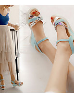 cheap -Women's Sandals Wedge Sandals Summer Wedge Heel Peep Toe Daily Solid Colored PU White / Pink / Blue