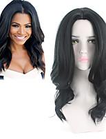 Недорогие -Парики из искусственных волос Кудрявый Средняя часть Парик Длинные Черный Искусственные волосы 18 дюймовый Жен. Прямой пробор вьющийся пушистый Черный