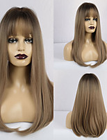 cheap -Synthetic Wig Matte Natural Straight Middle Part Neat Bang Wig Long Light Brown Synthetic Hair 20 inch Women's Natural Hairline Waterfall Light Brown