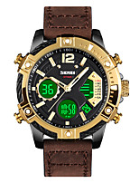 cheap -SKMEI Men's Sport Watch Digital Modern Style Sporty Leather Brown 30 m Calendar / date / day Chronograph Alarm Clock Analog - Digital Classic Fashion - Black Gold One Year Battery Life