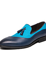 cheap -Men's Summer / Fall Classic / Casual Daily Office & Career Loafers & Slip-Ons Faux Leather Non-slipping Wear Proof Black / Blue Color Block / Tassel