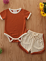 cheap -Baby Girls' Casual Solid Colored Short Sleeve Regular Regular Clothing Set Orange