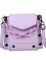 cheap -Women's Rivet / Chain PU Leather / Polyester Top Handle Bag Leather Bags Solid Color White / Black / Purple / Fall & Winter