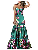 cheap -Mermaid / Trumpet Floral Boho Prom Formal Evening Dress Sweetheart Neckline Sleeveless Floor Length Satin with Pattern / Print 2020