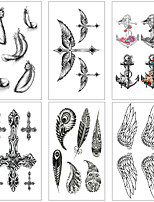 Недорогие -6 pcs Временные татуировки Защита от влаги / Мини / Безопасность Лицо / Корпус / руки Наклейка для переноса воды Краски для рисунков на теле
