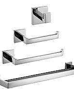 Недорогие -4 комплекта принадлежностей для ванной комнаты, набор принадлежностей для полотенец, держатель для туалетной бумаги, рулон для полотенец и двойной халат, матовый никель, настенное крепление,