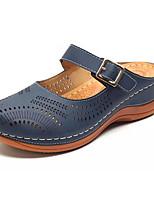 cheap -Women's Sandals Flat Sandal Summer Flat Heel Round Toe Daily PU Red / Khaki / Dark Blue