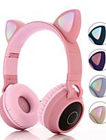 cheap -BT-028C Over-ear Cat Headphone Wireless Hifi Music Stereo Bass Bluetooth 5.0 Headset LED Light Mobile Phones Girl Daughter For PC