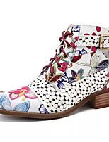 cheap -Women's Boots Fall & Winter Chunky Heel Pointed Toe Daily PU Mid-Calf Boots Black / Rainbow / Gray