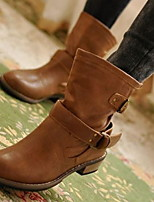 cheap -Women's Boots Spring & Summer Chunky Heel Round Toe Daily PU Black / Brown