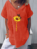 cheap -Women's Geometric Sun Flower Blouse Daily Weekend V Neck White / Red / Yellow / Khaki / Green / Dusty Blue / Gray