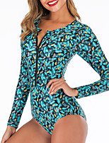 cheap -Women's One Piece Swimsuit Swimwear Breathable Quick Dry Long Sleeve Front Zip - Swimming Surfing Water Sports 3D Print Summer / Stretchy