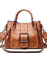 cheap -Women's PU Top Handle Bag Leather Bags Solid Color Black / Blushing Pink / Brown / Fall & Winter