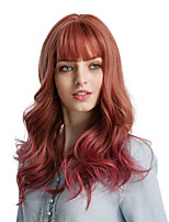 cheap -Synthetic Wig Bangs Wavy Body Wave Cosplay Side Part With Bangs Wig Ombre Long Ombre Color Synthetic Hair 20 inch Women's Cosplay Women Synthetic Ombre HAIR CUBE / Ombre Hair / African American Wig