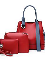 cheap -Women's Zipper PU Bag Set Bag Sets Solid Color 3 Pcs Purse Set White / Black / Red / Fall & Winter