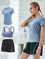 cheap -Women's 3pcs Tracksuit Yoga Suit Solid Color Black Pink Grey Elastane Running Fitness Gym Workout High Waist Shorts Sports Bra Tee / T-shirt Short Sleeve Sport Activewear Breathable Tummy Control