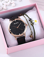 cheap -Women's Quartz Watches New Arrival Fashion Black Purple PU Leather Chinese Quartz Black Purple Chronograph Cute Creative 2 Piece Analog One Year Battery Life