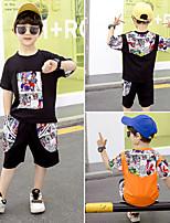 cheap -Kids Toddler Boys' Active Daily Wear Outdoor Black Cartoon Print Short Sleeve Regular Regular Clothing Set Black