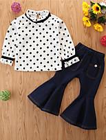 cheap -Toddler Girls' Basic Casual Polka Dot Long Sleeve Regular Regular Clothing Set White