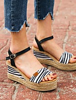 cheap -Women's Sandals Summer Wedge Heel Open Toe Daily Animal Patterned PU White / Brown