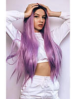cheap -Synthetic Lace Front Wig Straight Middle Part Lace Front Wig Ombre Long Purple Synthetic Hair 18-26 inch Women's Cosplay Soft Heat Resistant Purple Ombre