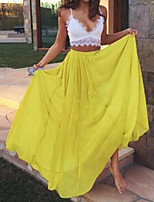 cheap -Two Piece Color Block Yellow Holiday Prom Dress Spaghetti Strap Sleeveless Floor Length Chiffon with Pleats 2020