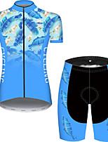 Недорогие -21Grams Жен. С короткими рукавами Велокофты и велошорты Черный / синий Цветочные ботанический Велоспорт Дышащий Быстровысыхающий Виды спорта С узором Горные велосипеды Шоссейные велосипеды Одежда