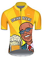 cheap -21Grams Men's Short Sleeve Cycling Jersey Polyester Yellow Polka Dot Gradient Oktoberfest Beer Bike Jersey Top Mountain Bike MTB Road Bike Cycling Breathable Quick Dry Ultraviolet Resistant Sports