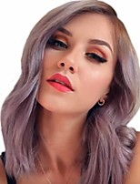cheap -Synthetic Wig Curly Matte Side Part Wig Long Dark Purple Synthetic Hair 14 inch Women's Ombre Hair curling Fluffy Purple