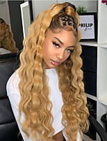 cheap -Synthetic Lace Front Wig Curly Gaga Middle Part Lace Front Wig Blonde Ombre Long Ombre Blonde Synthetic Hair 22-26 inch Women's Heat Resistant Women Hot Sale Blonde Ombre / Glueless