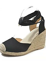 cheap -Women's Sandals Wedge Sandals Summer Wedge Heel Open Toe Daily PU Black / Red / Beige