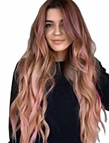 cheap -Synthetic Wig Matte Body Wave Middle Part Wig Very Long Pink / Purple Purple / Blue Synthetic Hair 26 inch Women's Dark Roots curling Fluffy Blue Purple