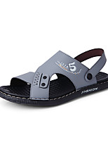 cheap -Men's Spring / Summer Casual Daily Home Sandals Walking Shoes Leather Breathable Waterproof Non-slipping Black / Blue / Gray Slogan