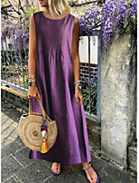 cheap -Women's Shift Dress - Sleeveless Solid Color Ruched Summer Casual Daily 2020 White Purple Navy Blue L XL XXL XXXL XXXXL XXXXXL