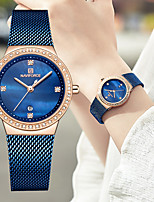 cheap -NAVIFORCE Women's Quartz Watches Fashion Blue Silver Gold Stainless Steel Japanese Quartz Purple Gold Blue Water Resistant / Waterproof Calendar / date / day Casual Watch 30 m 1 pc Analog One Year