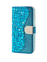 cheap -Case For Samsung Galaxy s6 s7 s7edge s8 s8plus s9 s9plus s10 s10E s10plus Card Holder Magnetic Glitter Shine Full Body Cases Solid Colored Glitter Shine PU Leather