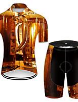 Недорогие -21Grams Муж. С короткими рукавами Велокофты и велошорты Полиэстер Светло-коричневый 3D Градиент Пиво Октоберфест Велоспорт Наборы одежды Дышащий 3D / Эластичная / Горные велосипеды / Быстровысыхающий