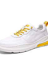 cheap -Men's Spring & Summer / Fall & Winter Classic / British Daily Outdoor Sneakers Walking Shoes Leather Breathable Wear Proof White / Black / Yellow
