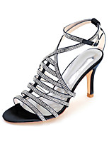 cheap -Women's Wedding Shoes Spring / Summer Stiletto Heel Open Toe Minimalism Wedding Party & Evening Sparkling Glitter Solid Colored Satin White / Black / Purple