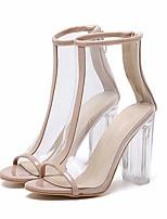 Недорогие -Жен. Обувь на каблуках Лето На толстом каблуке Открытый мыс Повседневные Полиуретан Черный / Бежевый