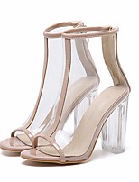 cheap -Women's Heels Summer Chunky Heel Open Toe Daily PU Black / Beige