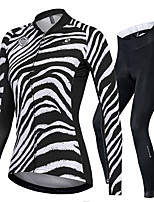 cheap -Nuckily Women's Long Sleeve Cycling Jersey with Tights Black / White Zebra Bike Sports Zebra Road Bike Cycling Clothing Apparel