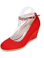 cheap -Women's Wedding Shoes 2020 Spring / Summer Wedge Heel Round Toe Sweet Minimalism Wedding Party & Evening Rhinestone Solid Colored Satin White / Black / Purple