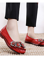 cheap -Women's Sandals Flat Sandals Leather Sandals Spring & Summer Flat Heel Round Toe Daily Solid Colored Leather Black / Red