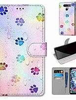 cheap -Case For LG Q70 / LG K50S / LG K40S Wallet / Card Holder / with Stand Full Body Cases Footprints PU Leather / TPU for LG K30 2019 / LG K20 2019