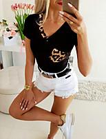 cheap -Women's Leopard Blouse Basic Daily V Neck White / Black