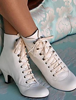 cheap -Women's Boots Winter Pumps Round Toe Daily PU Booties / Ankle Boots White / Black / Brown
