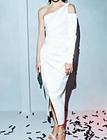 Недорогие -Футляр Элегантный стиль Белый Праздничная одежда Выпускной Платье На одно плечо Длинный рукав До щиколотки Сатин с Рюши С разрезами 2020